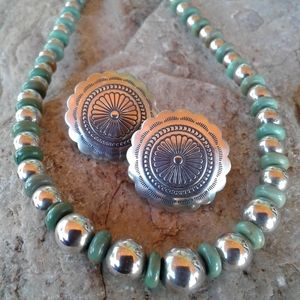 Jewelry - Sterling Silver Green Turquoise Necklace SET